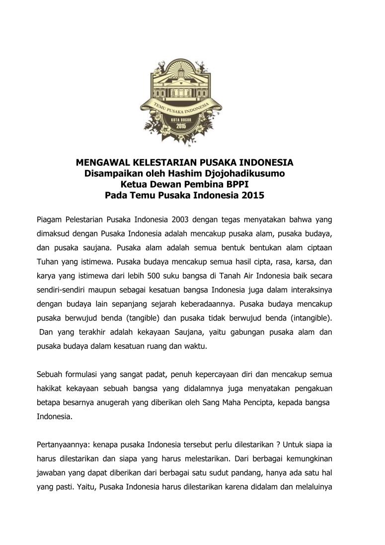 Pidato Mengawal Kelestarian Pusaka Indonesia_TPI 2015   Bogor final-1